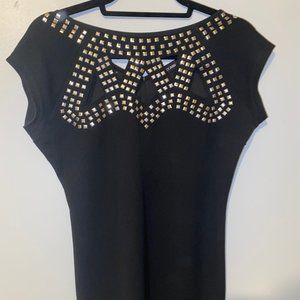 Black Studded with Cutouts Audrey Ann Dress